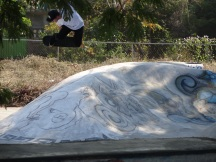 skull skate team rider getting air @ La Parota Skate Park