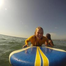 Big smiles while taking surf lesson in puerto escondido