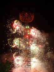 spinning tower of fireworks