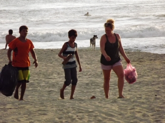 the crew cleaning the beach