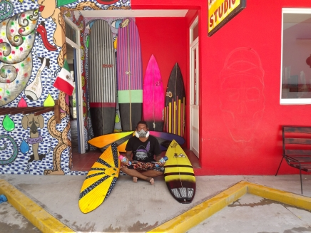 Julio Soto and recently painted boards