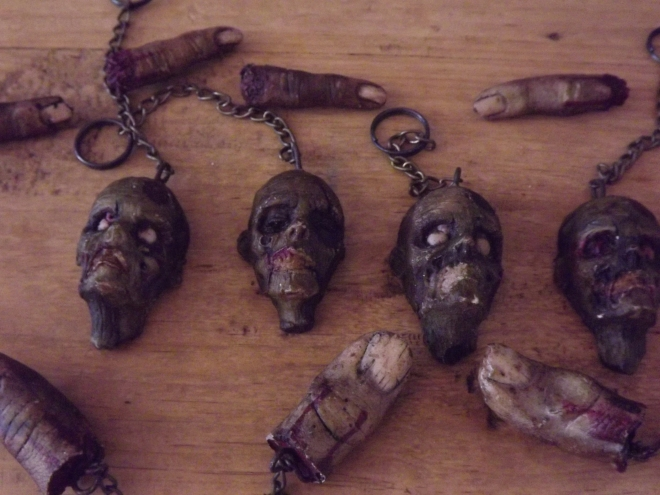 zombie heads, fingers keychains