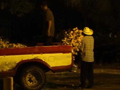man in cowboy hat and cempasuchil flower