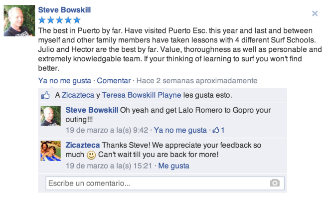 Five star facebook review of Zicazteca Surf School